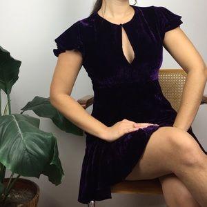 Velvet Flutter Sleeve Keyhole Dress